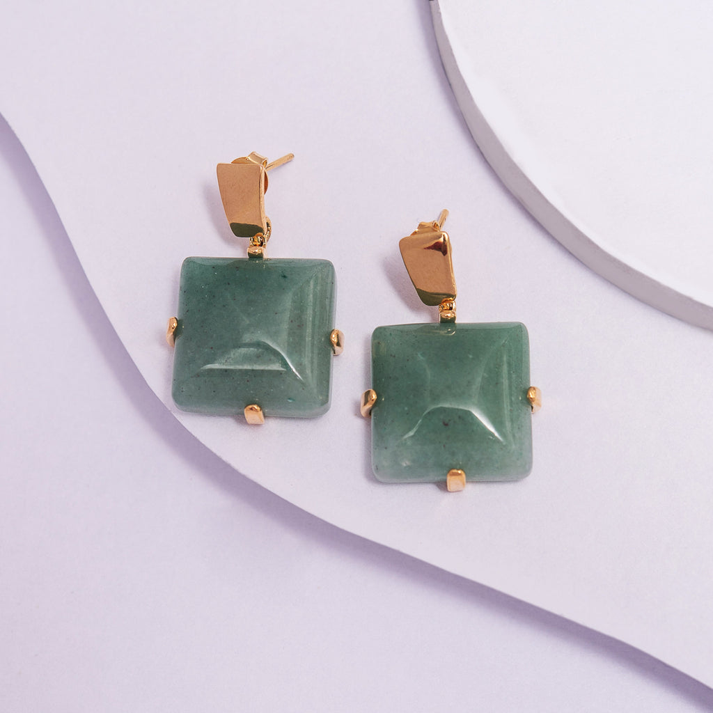 Dangle Earrings in Yellow Gold Filled with Square Green Gemstone