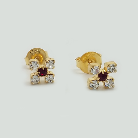 Stud Earrings in Yellow Gold Filled with Red and Clear Gemstones