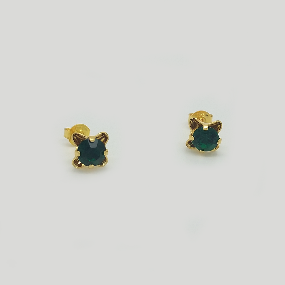 Stud Earrings in Yellow Gold Filled with Green Gemstone