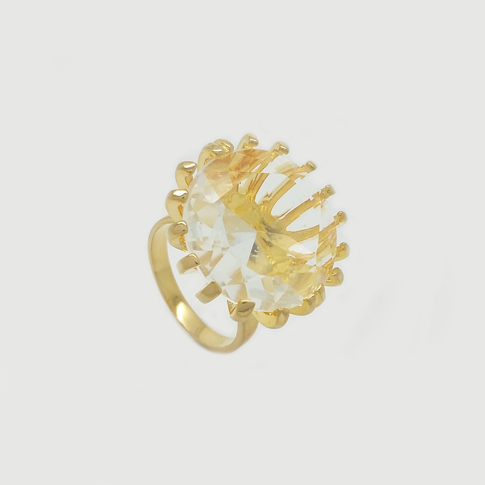 Ring in Yellow Gold Filled with Big Crystal