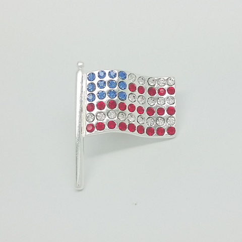 USA Flag Pin in Silver Filled with Gemstones
