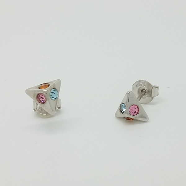 Pyramid Stud Earrings in White Gold Filled with Gemstones