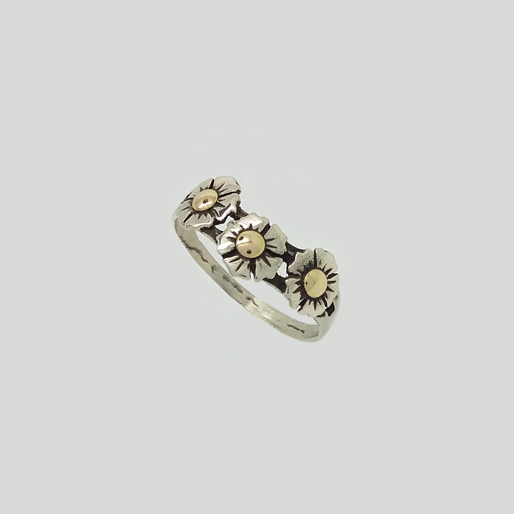 Flowers Band Ring in Double Plate