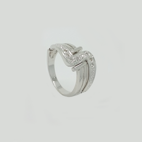 Ring in White Gold Filled with Clear Gemstones