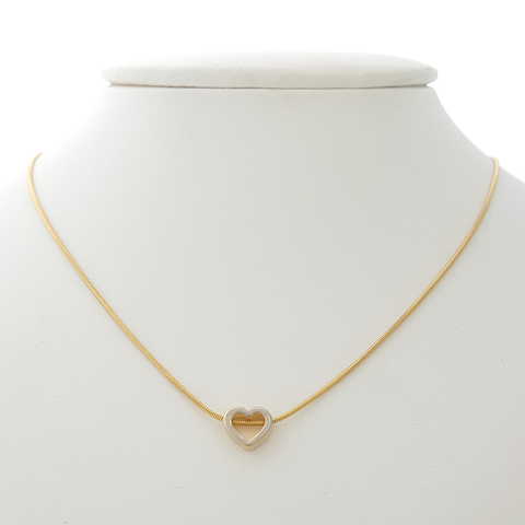 Heart Necklace in Yellow Gold Filled with Silver Enamel