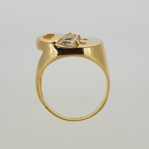 Ring in Yellow Gold Filled Open Top with Rectangular Gemstones