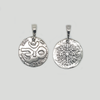 OM Symbol Charm Pendant for Protection in Aged Silver 925