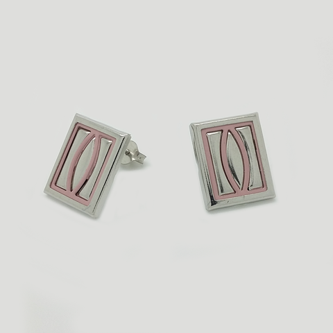 Stud Earrings in Stainless Steel with Pink Enamel