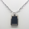 Black/Brown Pendant Necklace in Stainless Steel