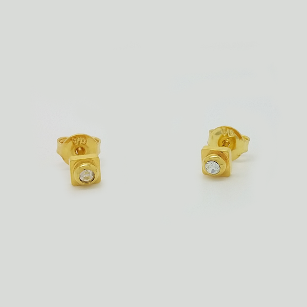 Stud Earrings in Yellow Gold Filled with Clear Gemstones