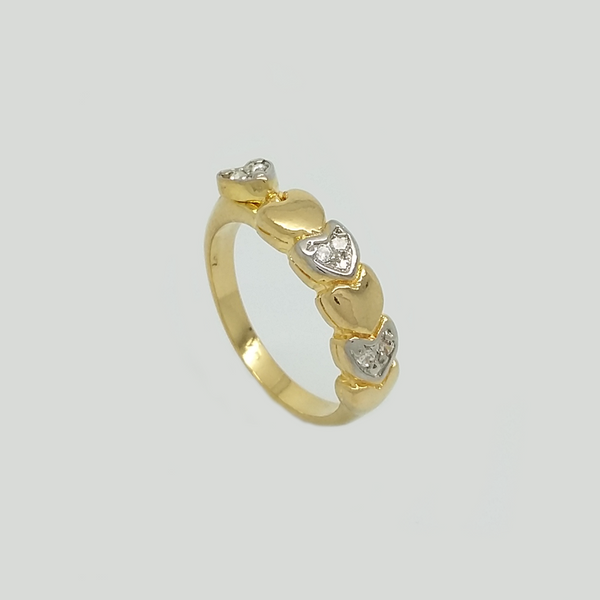 Ring in Yellow Gold Filled & Silver Enamel with Hearts