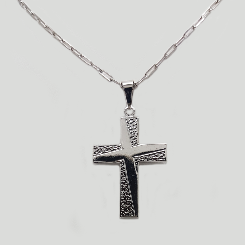 Cross Pendant Necklace in White Gold Filled