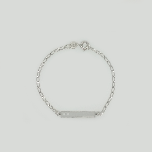 Bracelet in White Gold Filled with Rectangle Plaque