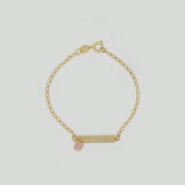 Bracelet in Yellow Gold Filled with Rectangle Plaque & Gemstone