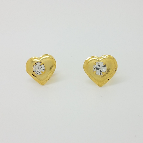 Heart Stud Earrings in Yellow Gold Filled with Gemstone