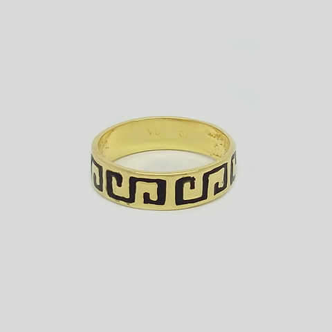 Band in Yellow Gold Filled & Black Enamel Graved Greek Details