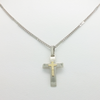 Cross Pendant in Double Plate and Link Chain