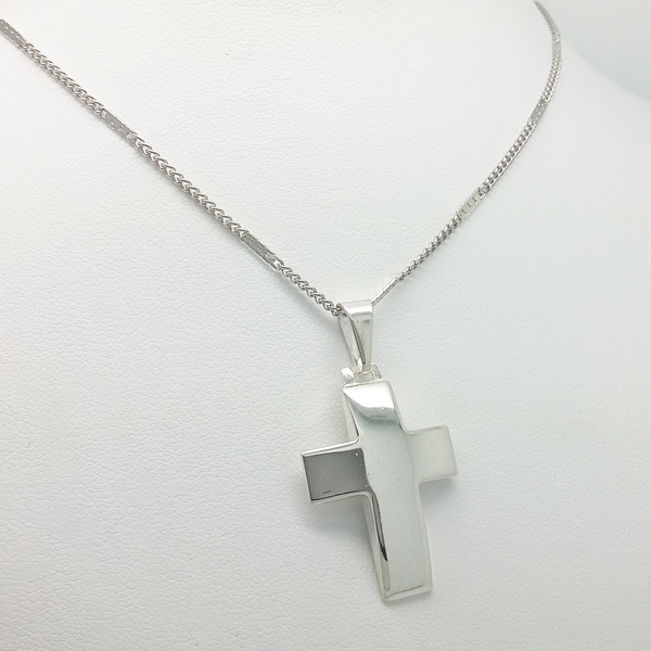 Cross Pendant Necklace in Silver 925 and Link Chain in White Gold Filled