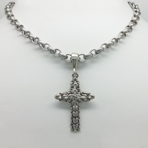 Gothic Cross in Silver 925 with Rolo Link in Stainless Steel