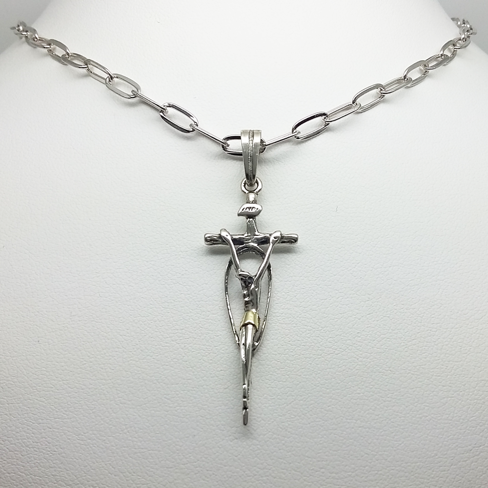 Jesus Pendant in Duble Plate Link Chain