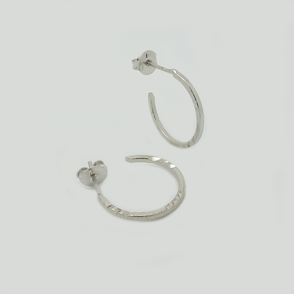 Hoop Earrings in White Gold Filled Caved