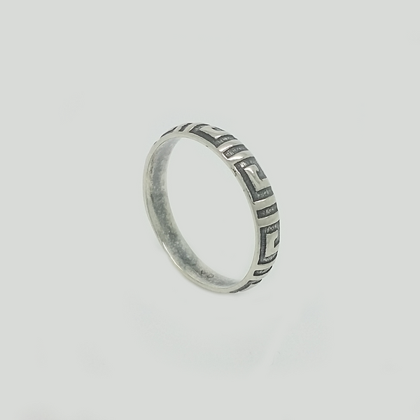 Greek Band Ring in Aged Silver 925