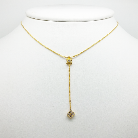 Lariat Necklace for Women in Yellow Gold Filled with Cubic Zirconia Gemstones