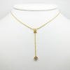 Lariat Necklace in Yellow Gold Filled with Gemstones