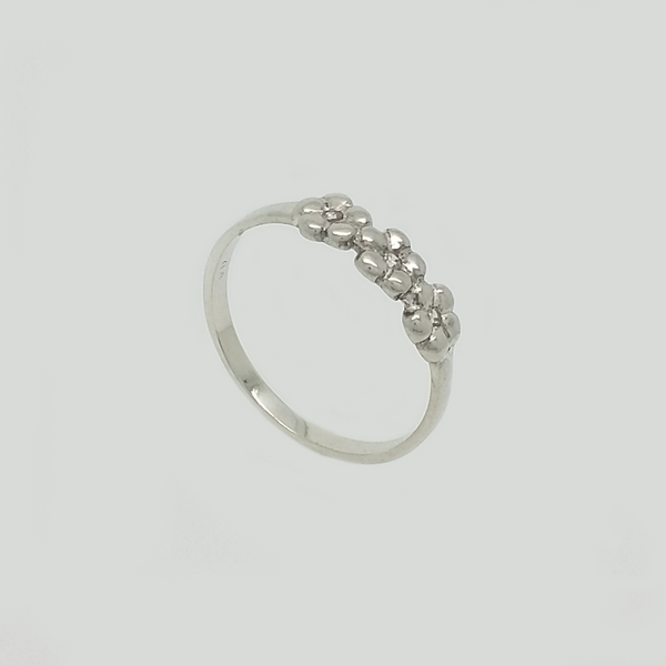 Flower Band Ring in Silver 925 with Gemstones