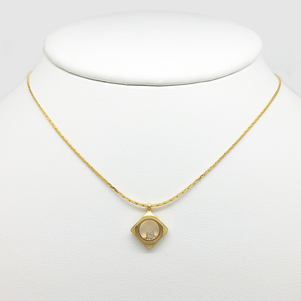 Pendant Necklace for Women in Yellow Gold Filled with Cubic Zirconia Gemstone