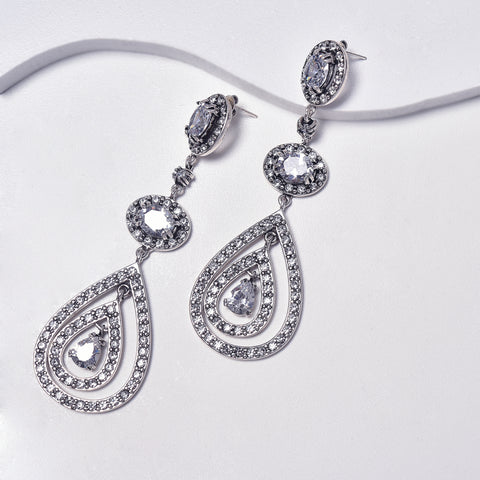 Drop Earrings in Aged White Gold Filled with Cubic Gemstones