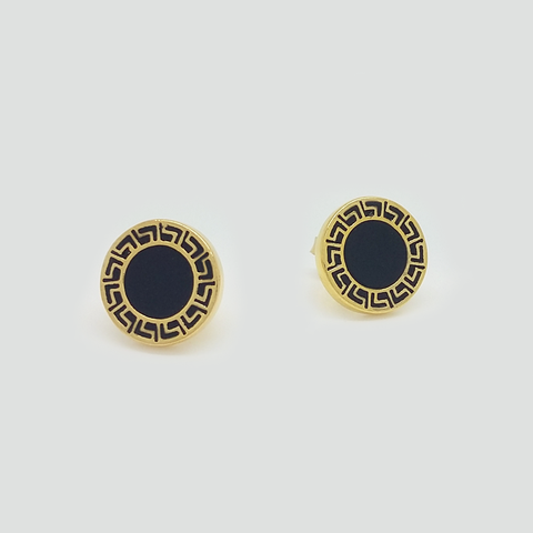 Stud Earrings in Yellow Gold Filled with Black Enamel and Greek Details