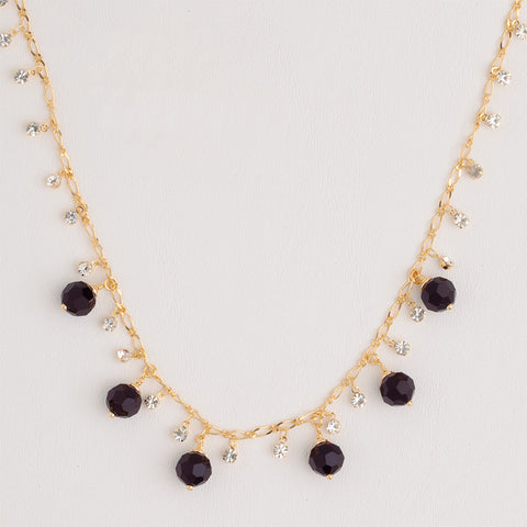 Necklace in Yellow Gold Filled with Black & Clear Gemstones