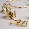 Diagonal Lines Ring, Open Top Ring, Yellow Gold Plated Ring