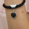 Black Braided Bracelet Wirh Heart Pendant in White Gold Filled and Druzy Gemstone