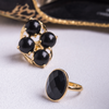 Black Onyx Gemstone Ring in Yellow Gold Filled