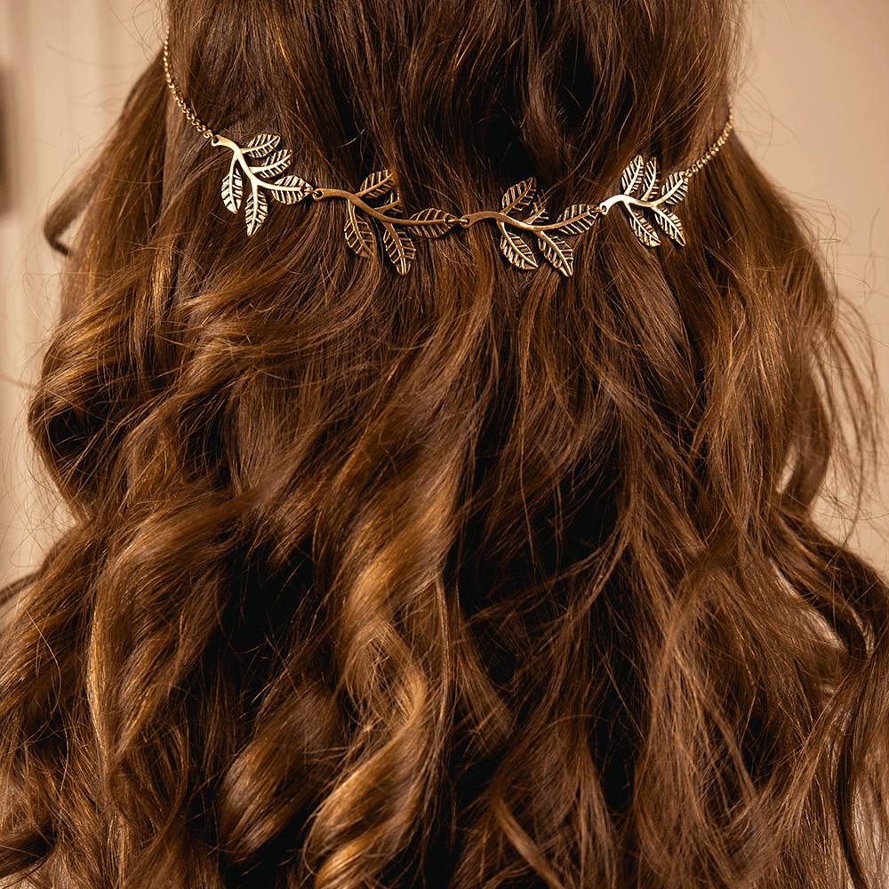 Leaves Headpiece in Aged Gold Color Metal