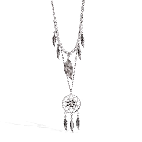 Dreamcatcher Layered Necklace in 14k White Gold