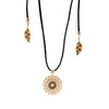 Dreamcatcher Necklace in 14k Aged Yellow Gold and Black Leather