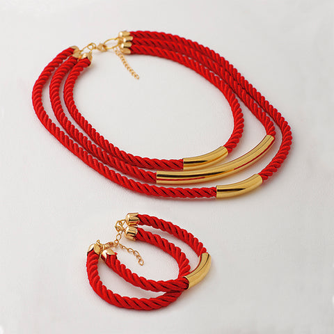 Jewelry Set, Choker & Bracelet, Red Bracelet, Red Necklace, Red Ropes, Gold Plated Choker, Plated Gold Plated Bracelet
