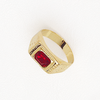 Man Ring, Solitaire Ring, Classic Ring, Red Ring, Red Gemstone Ring, Red Cubic Zirconia, Yellow Gold Plated Ring.