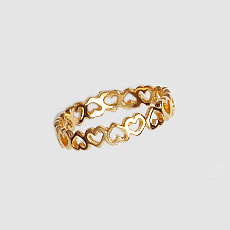 Open Hearts Band, Hearts Ring, Yellow Gold Plated Ring, Simple Ring