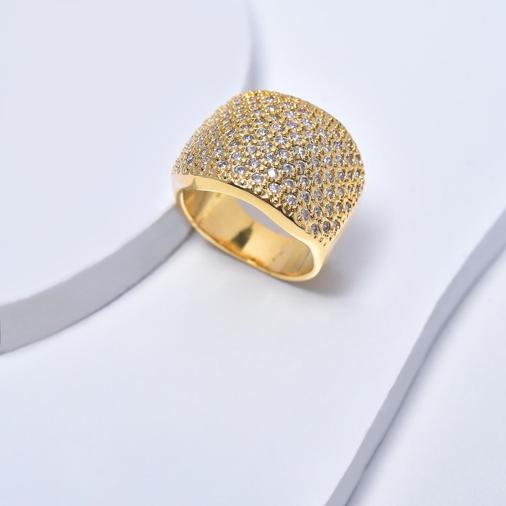 Statement Ring in Yellow Gold Filled with Cubic Zirconia Gemtones