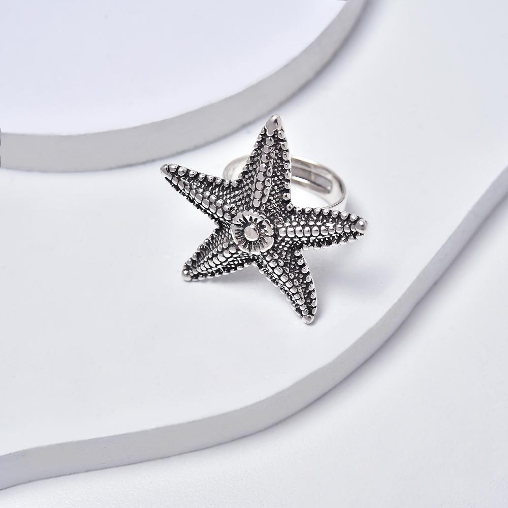 Starfish Ring, Aged White Gold Plated Ring, Nautical Ring, Adjustable Ring