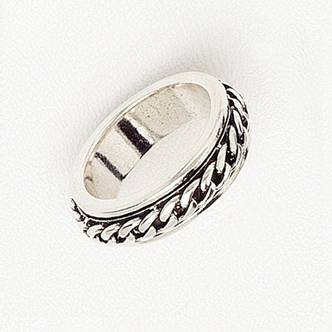 Band Ring in Aged White Gold Filled with Link Chain