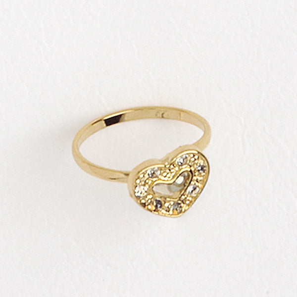 Open Heart Ring, Yellow Gold Plated Ring, Gemstones Ring, Solitaire Ring