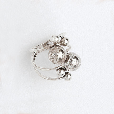 Balls Ring, Aged White Gold Plated Ring, Everyday Ring