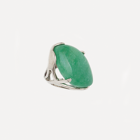 Green Agate Gemstone Ring in White Gold Filled
