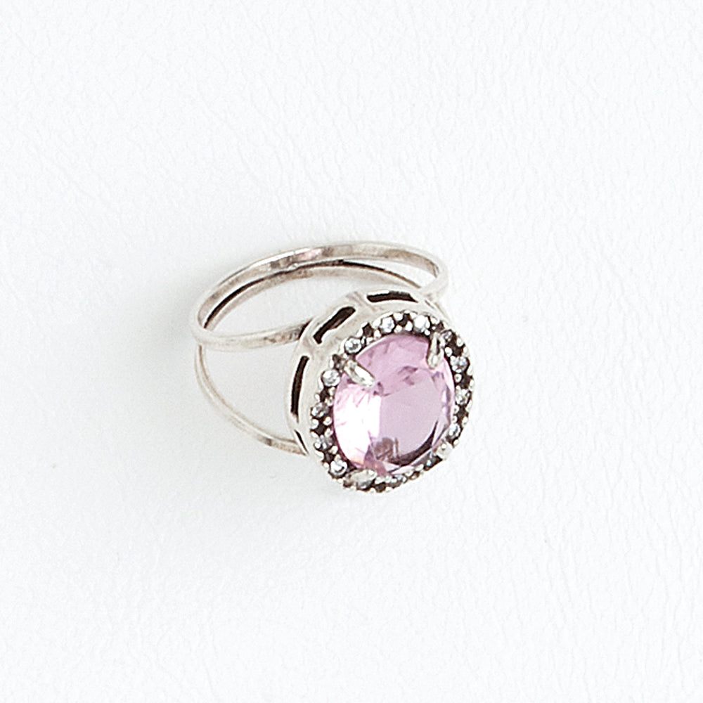 Rose Solitaire Ring, Aged White Gold Filled Ring, Oval Cubic Zirconia Gemstone