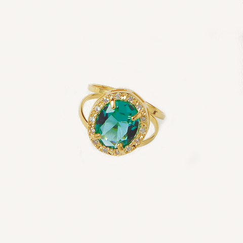 Green Ring, Cubic Zirconia Gemstones, Solitaire Ring, Gemstones Ring, Yellow Gold Plated Ring